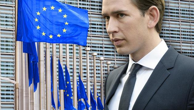 "Kurz warnt: ""EU gefährdet unser Sozialsystem"" (Bild: AFP/JOHN THYS, APA/HANS PUNZ)"