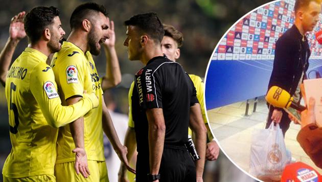 Schiri mit Real-Sackerl: Aufregung in Spanien (Bild: AFP, facebook.com)