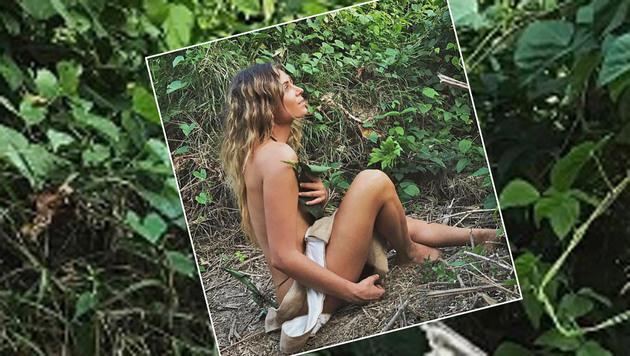 Arme Anastasia Ashley! Das Surf-Starlet findet in der Wildnis offenbar nichts zum Anziehen. (Bild: Instagram)