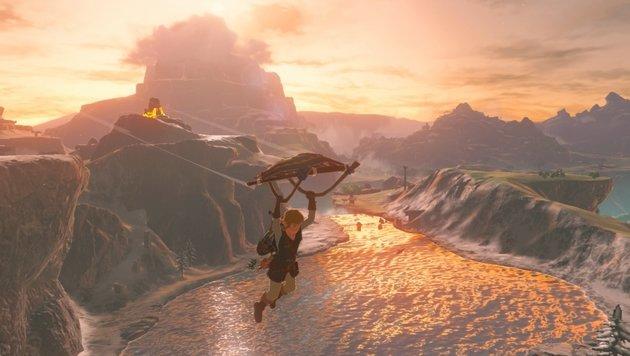 Mit seinem Flugdrachen gleitet Link nach ausgedehnten Kletterpartien von Bergspitzen. (Bild: Nintendo)