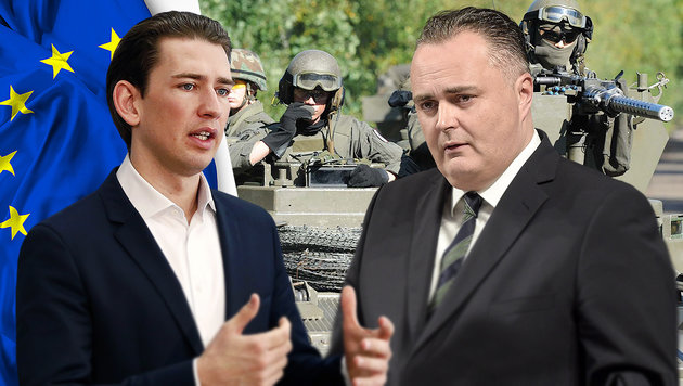 Nun auch Kurz und Doskozil auf Konfrontationskurs (Bild: APA, Bundesheer/Hartl, thinkstockphotos.de)