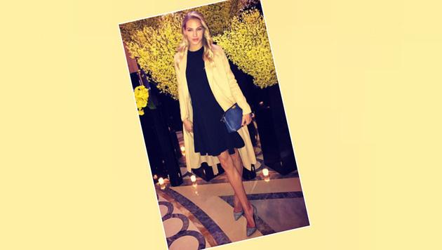 Macht auch in der Abendrobe hervorragende Figur: Leichtathletik-Star Darja Klischina (Bild: Instagram)