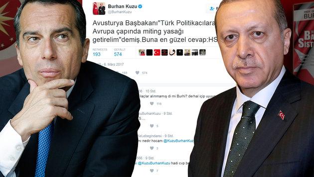 """Verpiss dich!""-Tweet aus Istanbul gegen Kern (Bild: AFP/Yasin Bulbul, Bundeskanzleramt, twitter.com)"