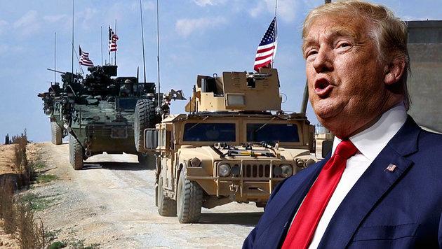 Gepanzerte Fahrzeuge der US-Armee patrouillieren auf Anordnung Trumps nun in Nordsyrien. (Bild: ASSOCIATED PRESS)