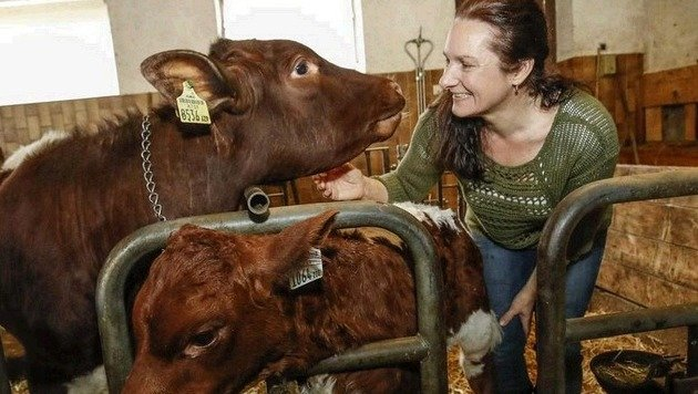 """Bäuerin Monika Vitzthum hat eine enge soziale Bindung zu den Tieren: """"Unsere Kühe sind glücklich!"""" (Bild: Markus Tschepp)"""