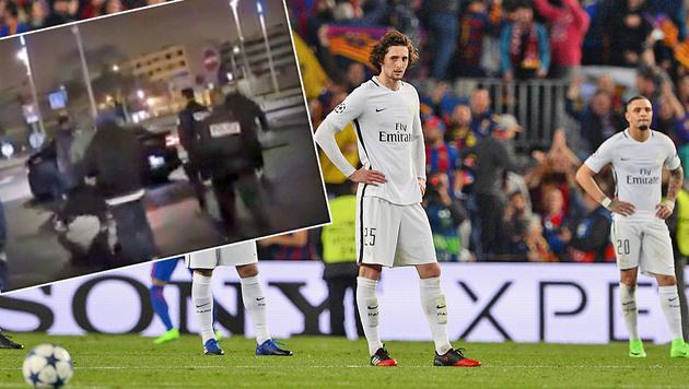 Wütende PSG-Fans gehen auf eigene Spieler los (Bild: AFP)