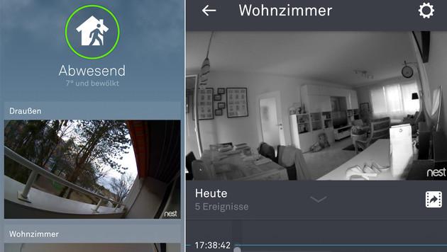 Bei Abwesenheit schalten sich die Kameras auf Wunsch automatisch ein. Rechts: der Nachtmodus. (Bild: Screenshot)