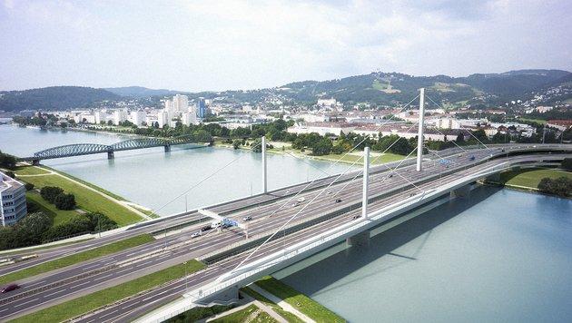 Um 120 Millionen Euro wird ab Herbst die Voestbrücke saniert und erhält dazu auch noch zwei Bypässe (Bild: Krone)