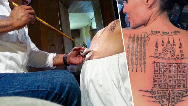 Jolie: XXL-Tattoo sollte ihre Liebe schützen (Bild: splash news)