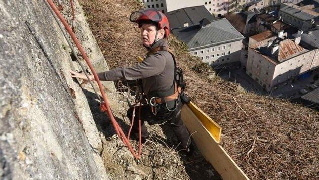 Statiker Manfred Armstorfer begutachtete die schadhafte Wand über den Dächern der Stadt. (Bild: Stadt Salzburg/Killer)