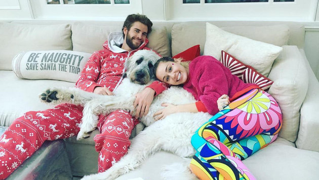 Miley Cyrus und Liam Hemsworth mit Hund (Bild: face to face)