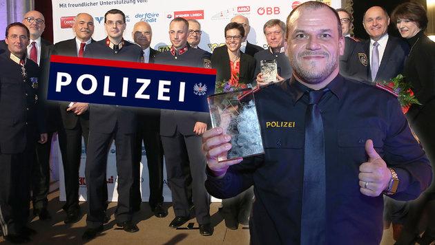 """Auszeichnung für Frank Geisendorfer bei einer Gala im Rathaus: Er ist Wiens """"Top-Cop"""" des Jahres. (Bild: Peter Tomschi)"""
