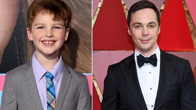Der junge und der alte Sheldon Cooper: Iain Armitage und Jim Parsons. (Bild: AP, AFP, krone.at-Grafik)