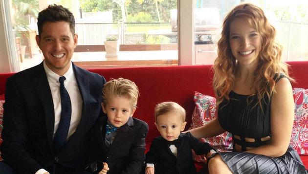 Michael Bublé mit Ehefrau Luisana Lopilato und Kindern. (Bild: face to face)