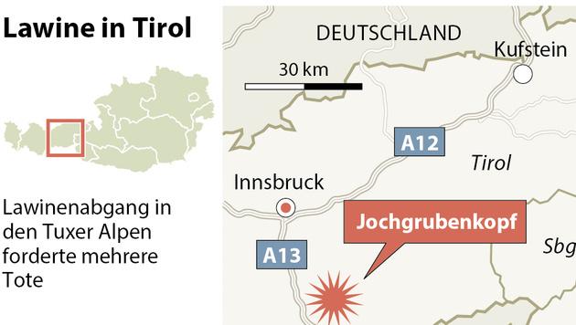 Monsterlawine reißt vier Alpinisten in den Tod (Bild: APA-Grafik)