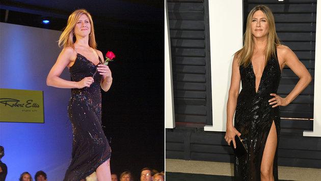 Links: Jennifer Aniston im Jahre 2003 und rechts: Jennifer Aniston im Jahre 2017 (Bild: AP, face to face)