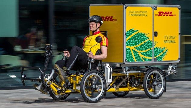 Prägen künftig Fahrrad-Lastwagen das Stadtbild? (Bild: DHL)