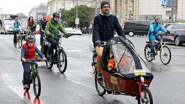 """Nur 75 """"Biker"""" bei erster Lastenrad-Demo in Wien (Bild: Klemens Groh)"""