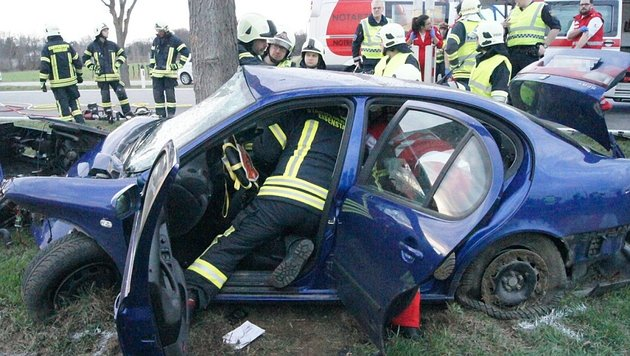 Zwei der Opfer mussten von der Feuerwehr aus dem Wrack geschnitten werden (Bild: FF Eisenstadt)