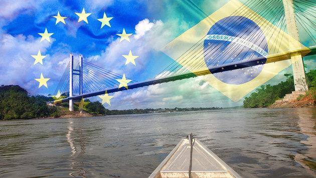 Diese Brücke verbindet die EU und Brasilien (Bild: AFP, thinkstockphotos.de)