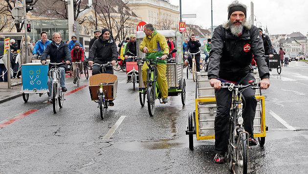 Weg mit Auto und Lkw: Vassilakou will Lastenräder (Bild: Klemens Groh)
