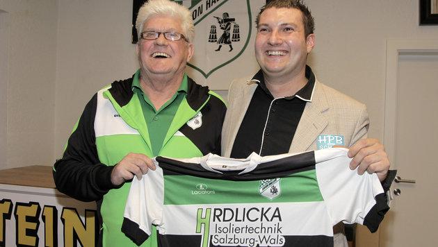 Union-Hallein-Coach Werner Lorant und -Sportchef David König (Bild: Andreas Tröster)
