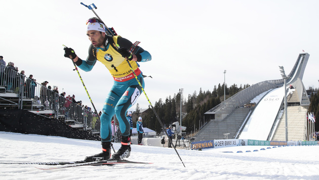 Kurioser Fauxpas! Fourcade ohne Munition am Start (Bild: AP)