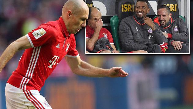 Robben-Ausraster sorgt für Lacher auf Bayern-Bank (Bild: GEPA, twitter.com)
