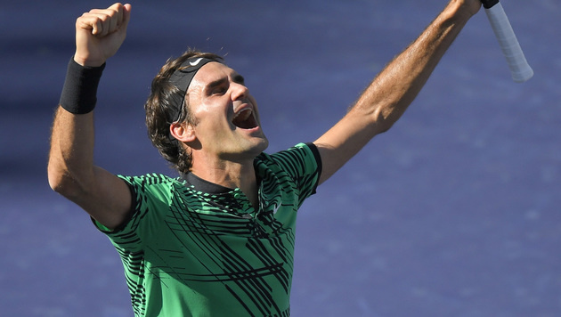 Roger Federer triumphiert in Indian Wells (Bild: AP)