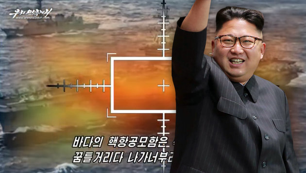 Kim Jong Uns Armee zerstört US-Flugzeugträger (Bild: YouTube.com/uriminzokkiri, APA/AFP/KCNA/KNS)