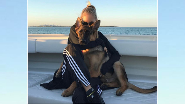 Ex-Tennis-Star Anna Kournikova hat auch ein großes Herz für Tiere: Hier schmust sie mit ihrem Hund! (Bild: instagram.com)