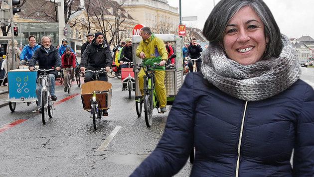 Stadt-Vize Maria Vassilakou hielt ein Plädoyer für das Lastenfahrrad. (Bild: PID/Christian Fürthner, Klemens Groh)