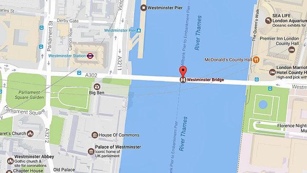 Neuer Terror-Schock: Blutige Attacke auf London (Bild: Screenshot/GoogleMaps)