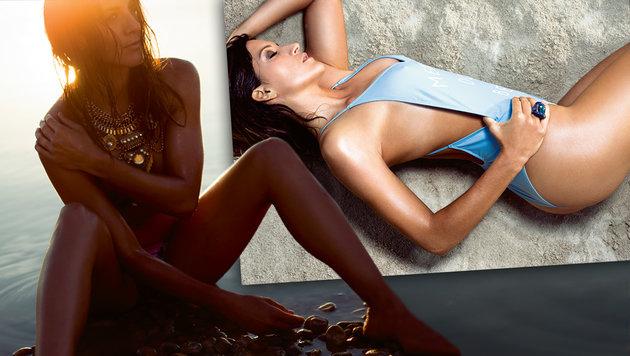 Vorsicht, heiß! Dujmovits als sexy Bikini-Girl (Bild: Sportmagazin/Chris Singer)