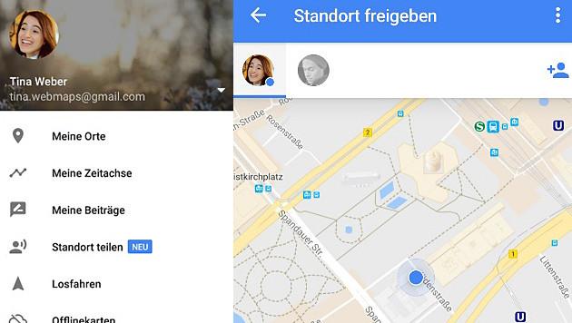 Google Maps verrät Ihren Freunden, wo Sie sind (Bild: Google, krone.at-Grafik)
