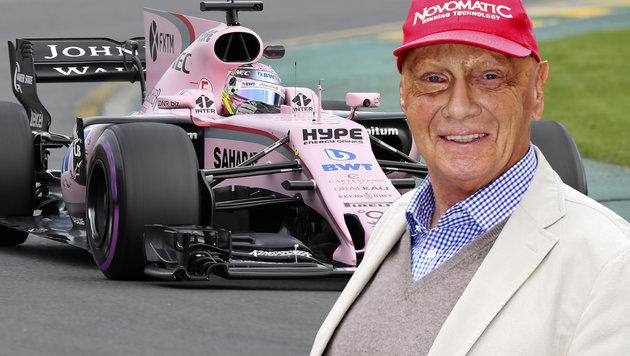 Niki Lauda spottet über pinken Force-India-Boliden (Bild: AP)