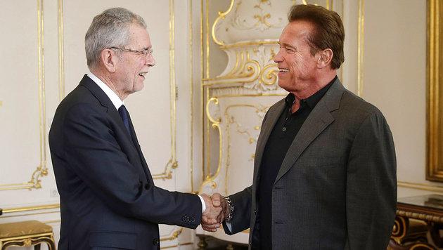Arnold Schwarzenegger beim Besuch bei Bundespräsident Van der Bellen. (Bild: APA/Bundesheer/Peter Lechner)