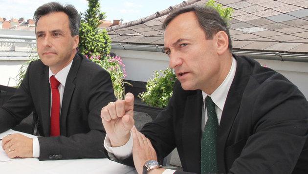 Der Grazer ÖVP-Bürgermeister  Siegfried Nagl und FPÖ-Chef Mario Eustacchio (Bild: KRONEN ZEITUNG)