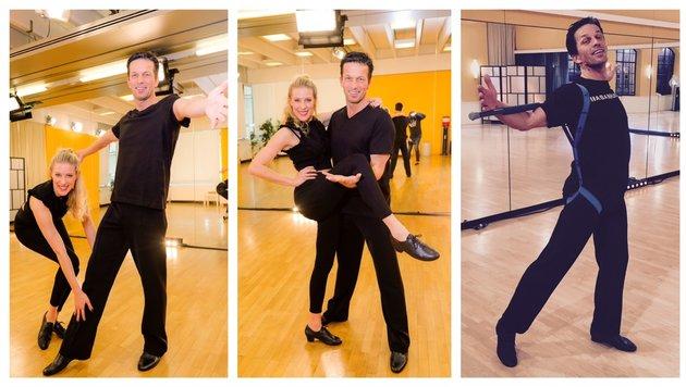 Tanzprofi Maria Santner trainiert mit Martin Ferdiny für den Staffel-Start (ORF) von Dancing Stars. (Bild: ORF/Roman Zach-Kiesling (2), Santner)