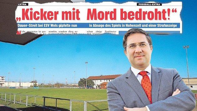 Trügerisch: Blauer Himmel überm ESV-Platz. Stadtchef Rabl will sich raushalten. (Bild: Fotomontage/Fotos: Erhardt, Markus Wenzel)