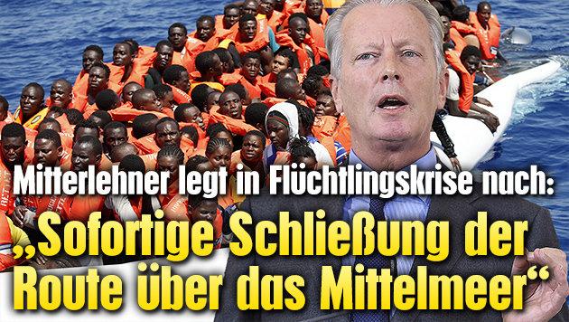 """""""Sofortige Schließung der Mittelmeerroute"""" (Bild: APA/HELMUT FOHRINGER, AFP)"""