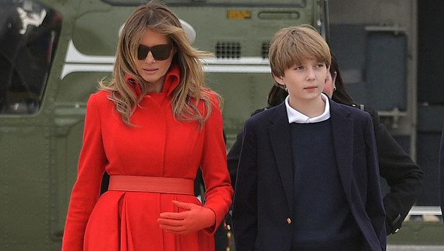 Melania und Barron Trump pendeln derzeit zwischen Washington und New York hin und her. (Bild: AFP)