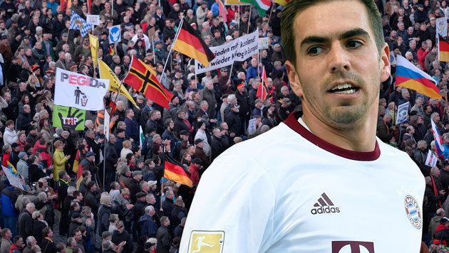"""Lahm: """"Deutschland darf nicht rechts werden!"""" (Bild: AFP/ROBERT MICHAEL, AFP/CHRISTOF STACHE)"""