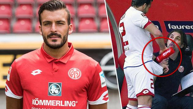 Über diese Penis-Dusche lacht die deutsche Liga! (Bild: dpa, twitter.com)