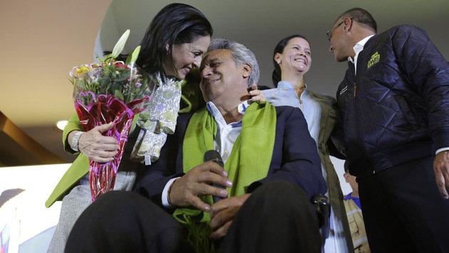 Lenin Moreno hat die ecuadorianische Präsidentenwahl um Haaresbreite gewonnen. (Bild: AP)