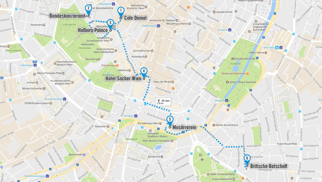 Demel, Sacher, Lipizzaner, Musikverein: Charles und Camilla machen das klassische Wien-Programm. (Bild: Google Maps)