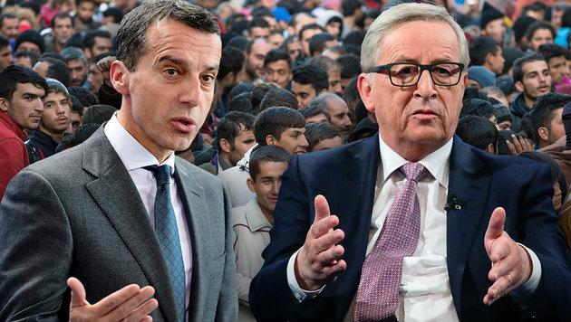 Kern holte sich mit seinem Vorhaben in Sachen Flüchtlings-Umverteilung einen Korb von Juncker. (Bild: dpa, AFP, AP)