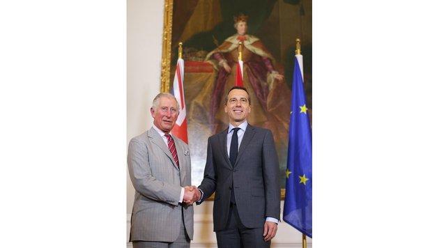 Charles trifft Bundeskanzler Kern. (Bild: APA, GEORG HOCHMUTH)