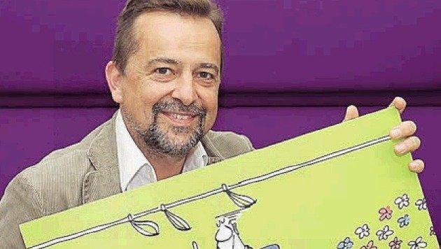 Karikaturist Thomas Wizany griff zum Stift. (Bild: Neumayr)