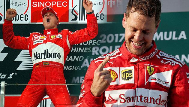 Vettel nimmt Erbe von Michael Schumacher an (Bild: GEPA)